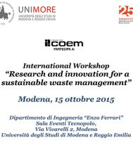"ANCHE COEM PARTECIPA AL WORKSHOP ""RESEARCH AND INNOVATION FOR A SUSTAINABLE WASTE MANAGEMENT"""