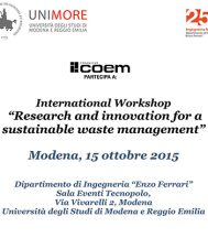 """COEM IS ALSO TAKING PART IN THE """"RESEARCH AND INNOVATION FOR A SUSTAINABLE WASTE MANAGEMENT"""" WORKSHOP"""